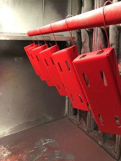 Brackets being coated in Blood Red
