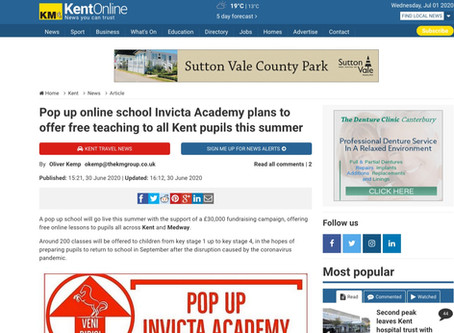 Pop up online school Invicta Academy plans to offer free teaching to all Kent pupils this summer