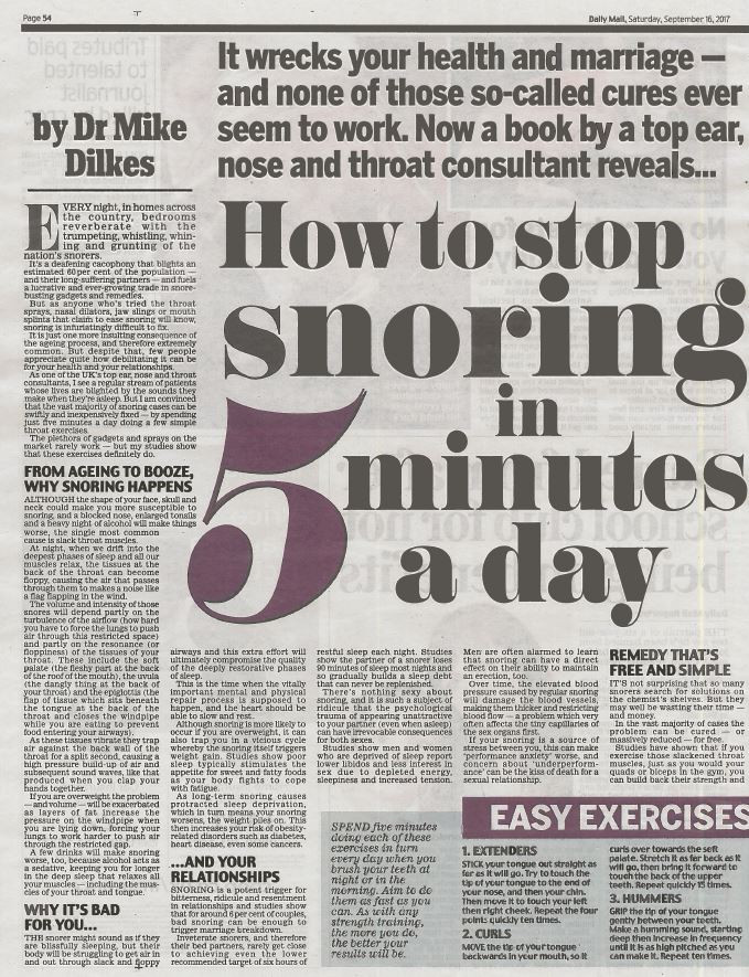 How to stop snoring in five minutes a day, 1 Mike Dilkjes