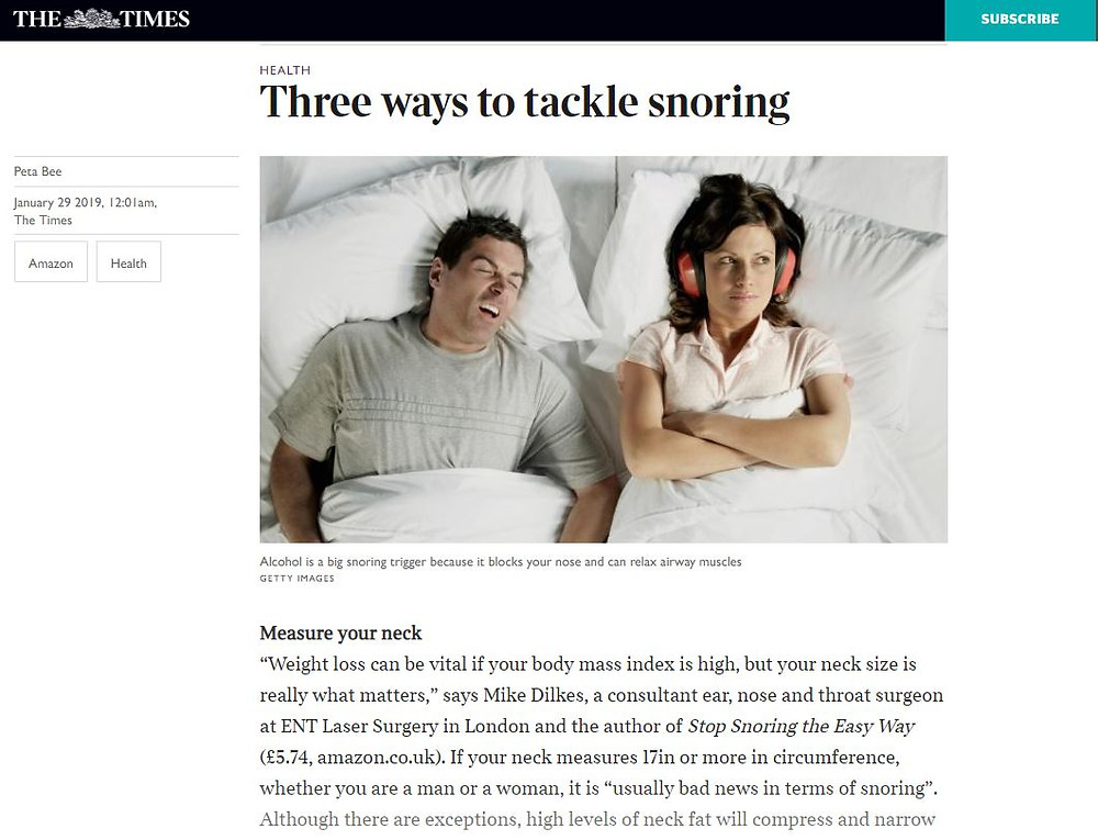 Snoring expert Mike Dilkes appears in the Times