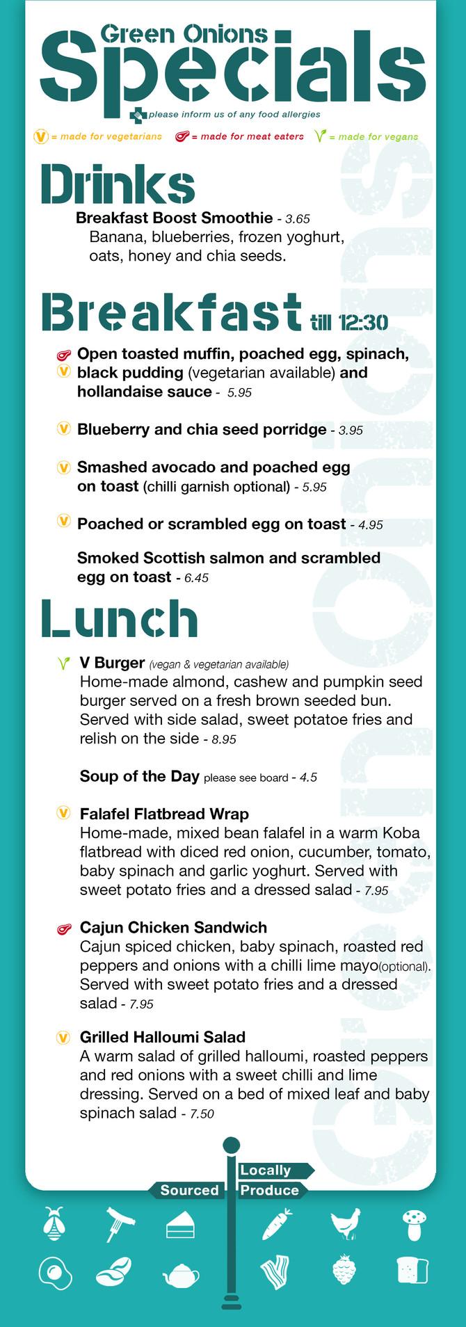 Green Onions Cafe Specials Menu