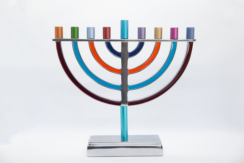 Modern-Metal-Multicolored menorah