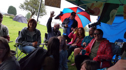 Singalong in the brief rain