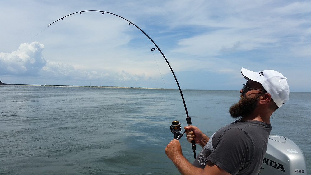 Shawn hooked up on a 12 pound black drum. Fun fight on a trout rod