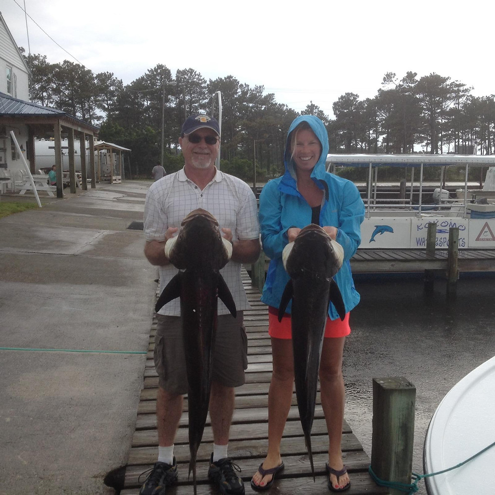 Frank & Capt Amanda with 2 of the six we caught
