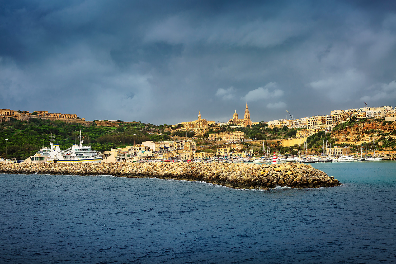 Vue du port de l'Ile de Gozo du ferry