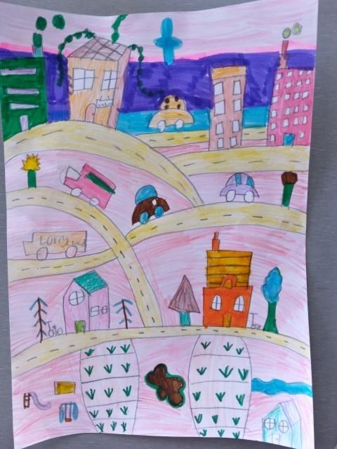 Luelle folk art cityscape
