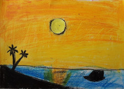 Lalith sunset sky colour using oil paste