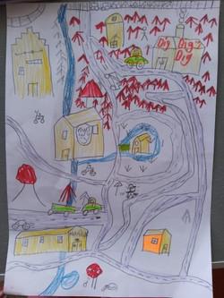 Hadley folk art cityscape