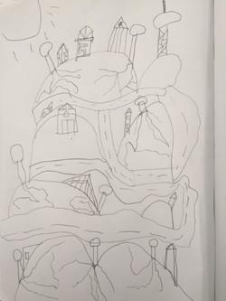 Harry P folk art cityscape