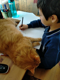 Russell drawing with Oddie