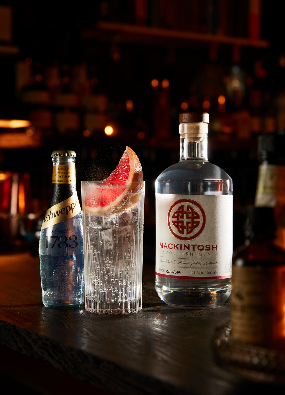 Mackintosh Gin at The Waterford Bar in Leeds with Schweppes Tonic for a shoot to promote Foodies Festival in Edinburgh