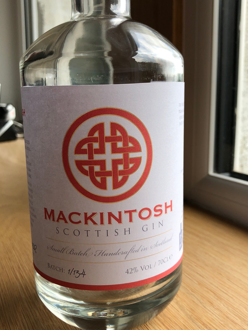 Mackintosh Gin mock up label prior to printing full label