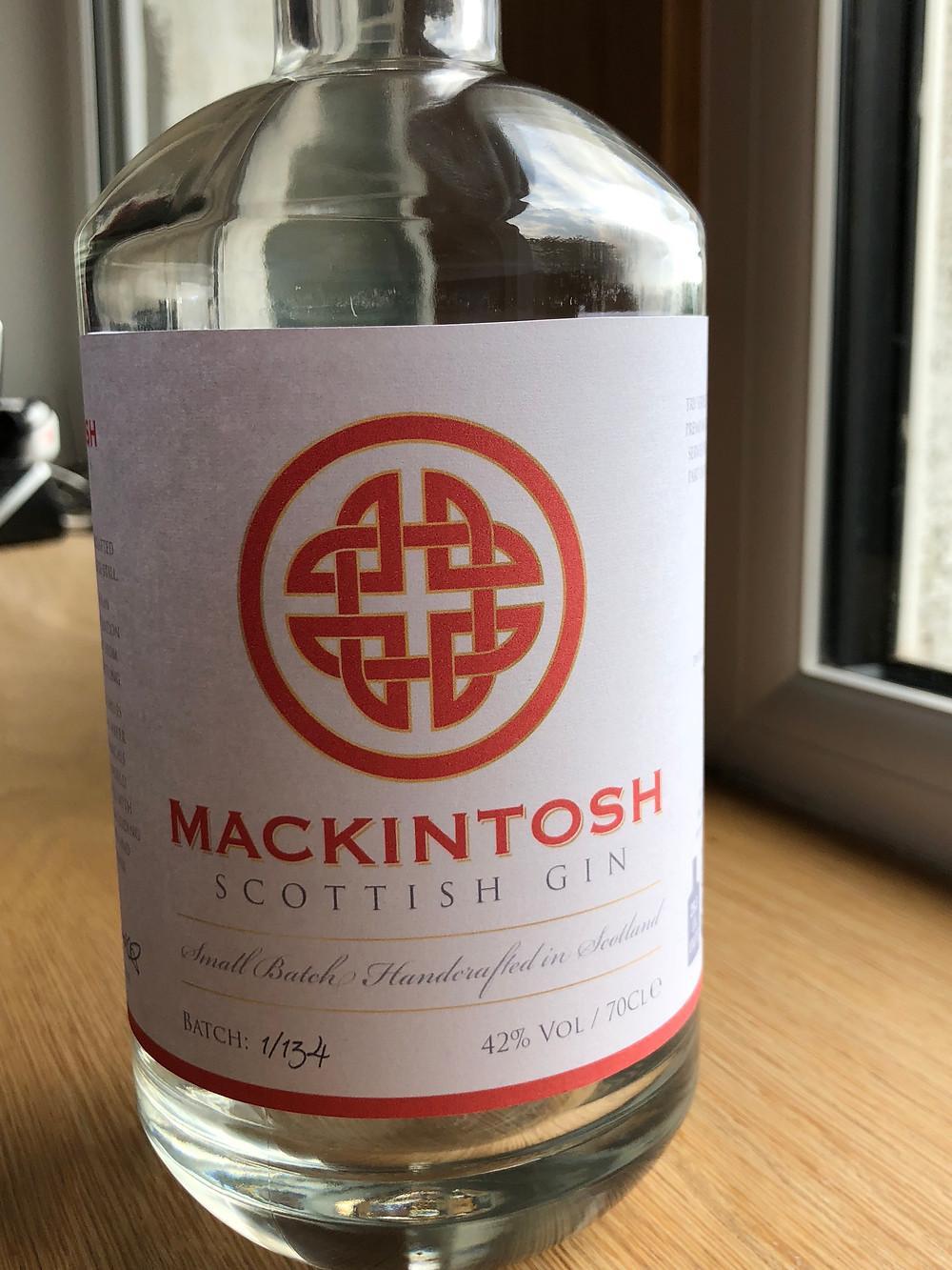 Mackintosh Gin mock up label prior to printing full label