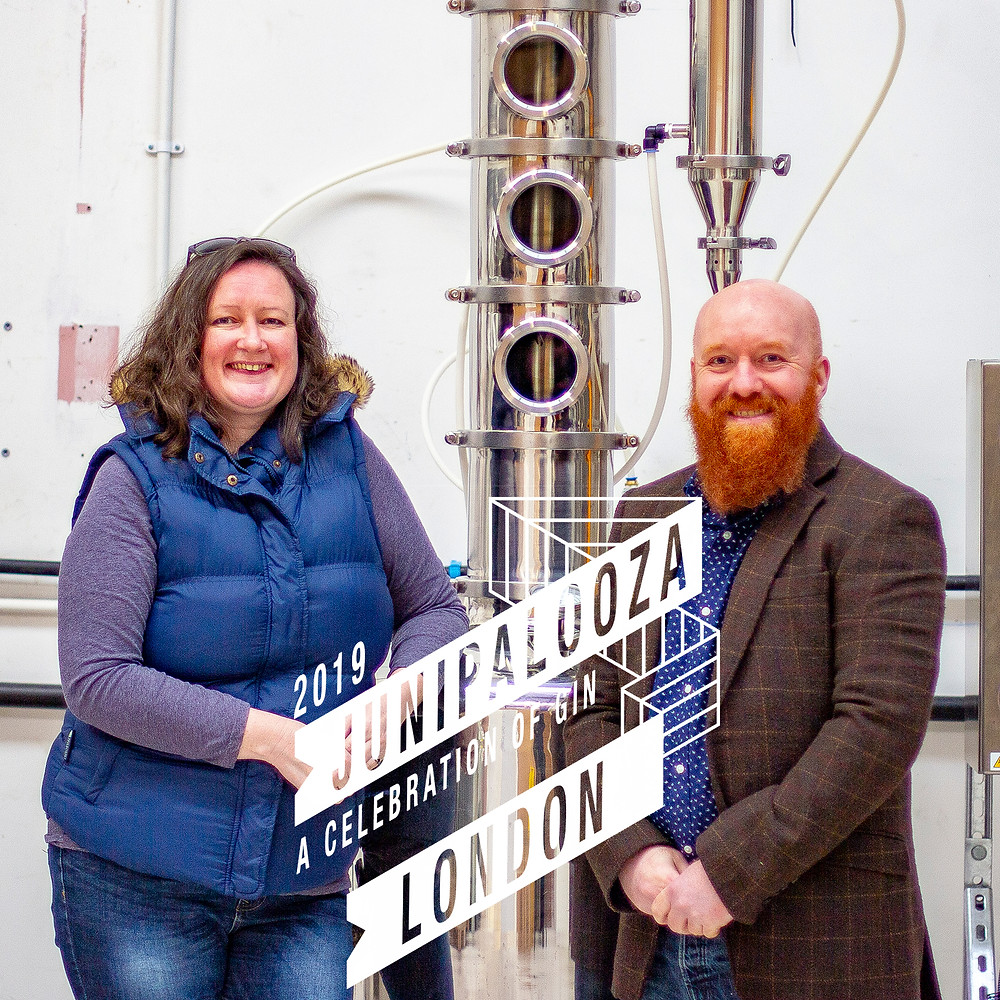 The owners of Mackintosh Gin, Jim and Deborah ready for Junipalooza Festival in London