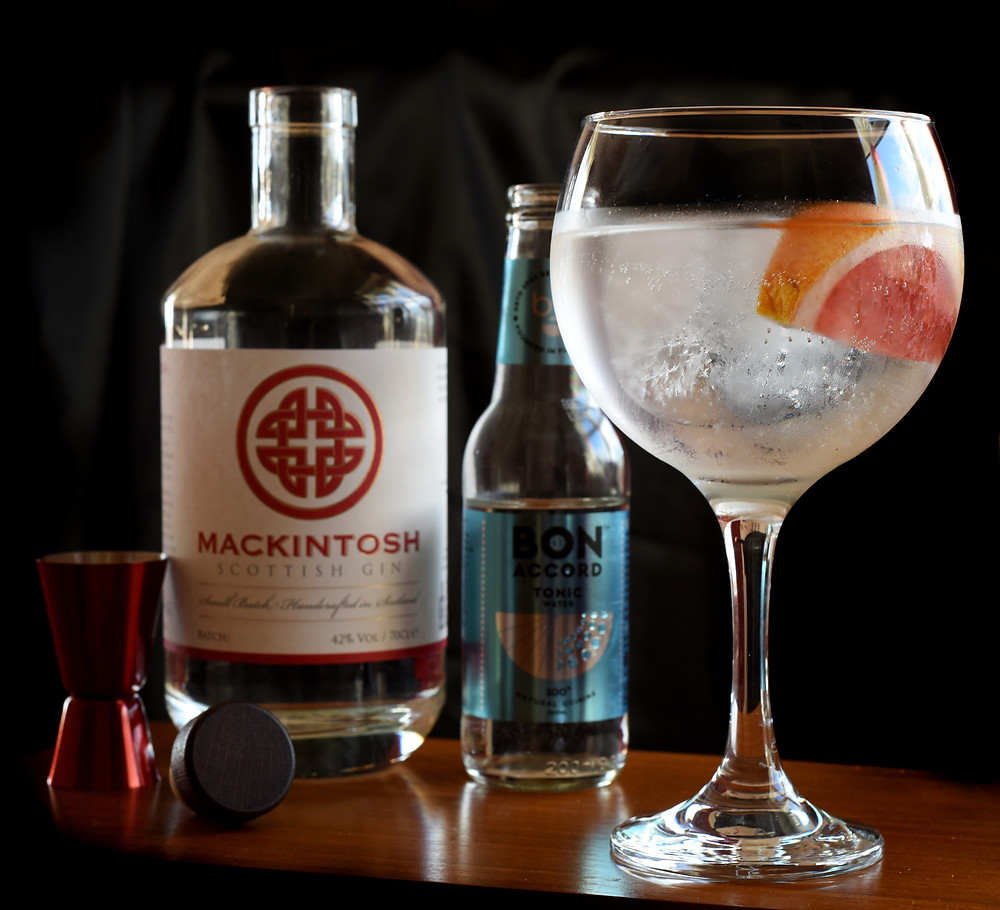 Mackintosh Gin and Tonic with fresh grapefruit and Bon Accord tonic water
