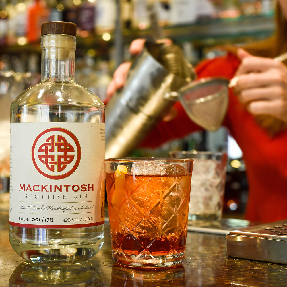 Lindsay Blair from South Loch Gin making a Negroni with Mackintosh Gin at the 56 North Gin Bar in Edinburgh