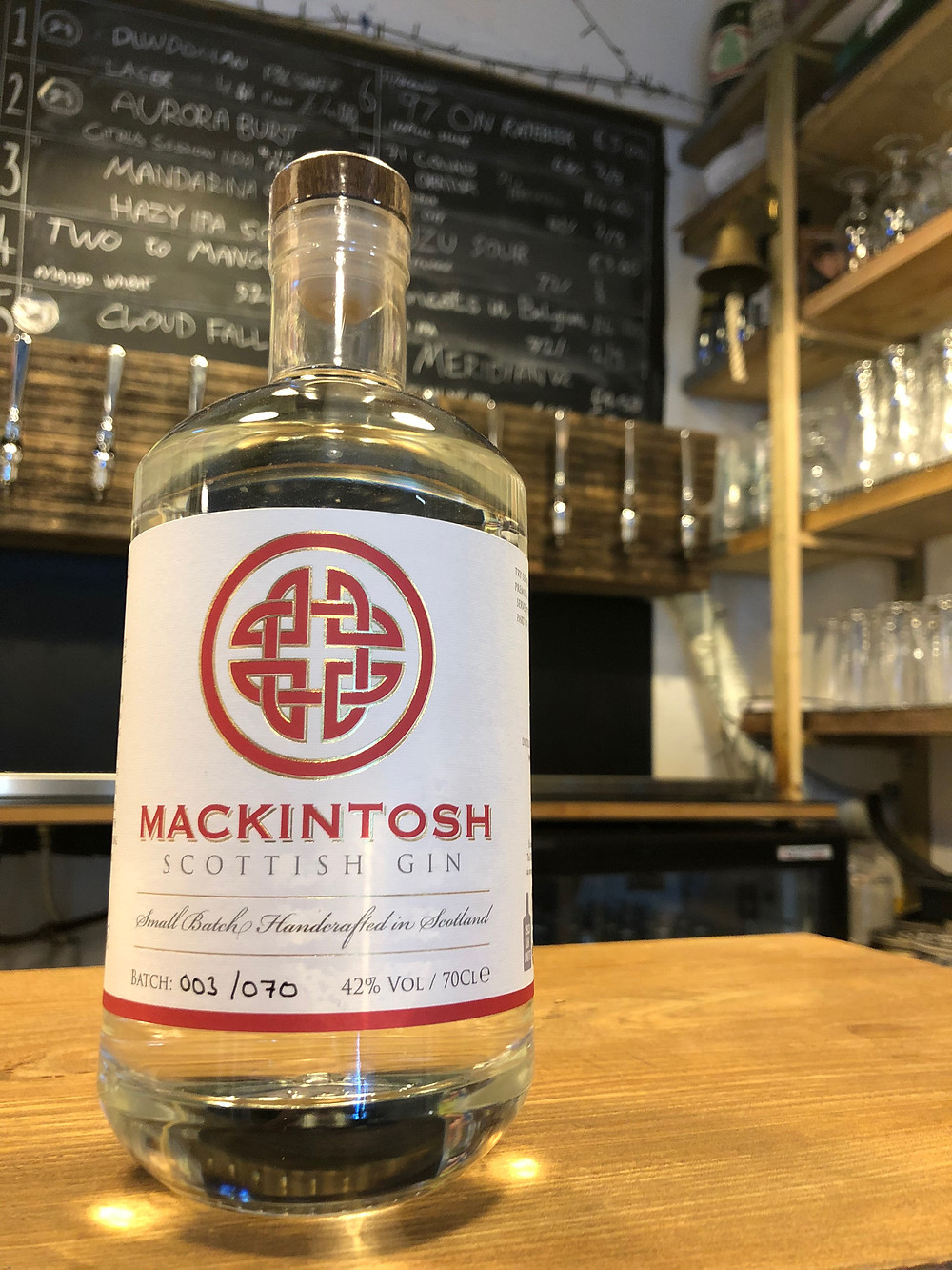 Mackintosh Gin on the bar at The Taproom at 71 Brewing in Dundee