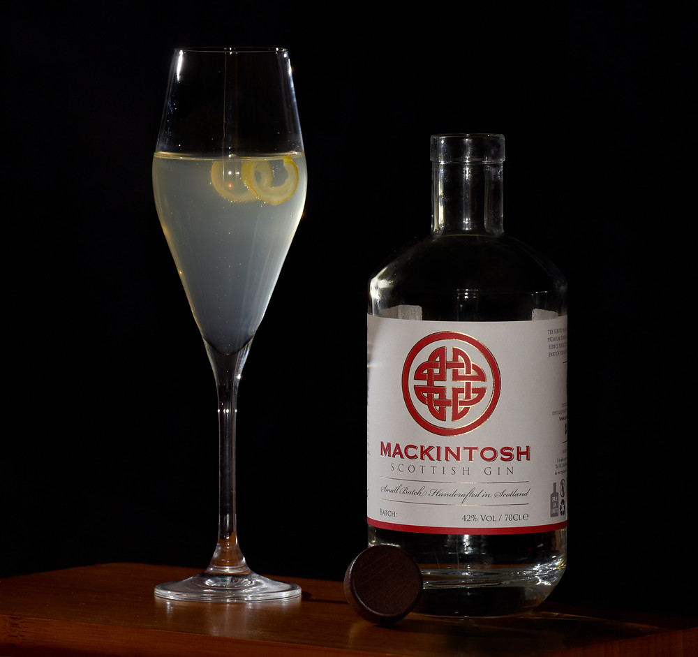 The Mackintosh 75 gin led cocktail using gin and Prosecco