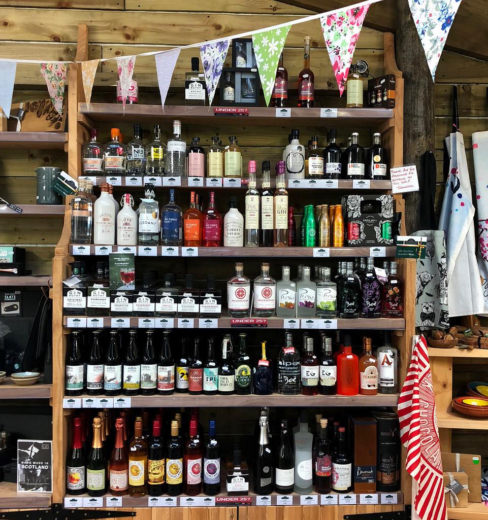 Mackintosh Gin on the shelf in Grewar's Farm Shop in Dronley
