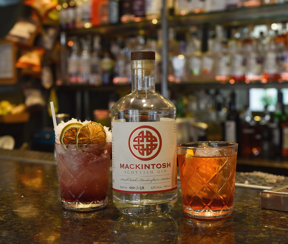 Mackintosh Gin Bramble and Negroni at 56 North in Edinburgh made by Lindsay Blair, head distiller at South Loch Gin.