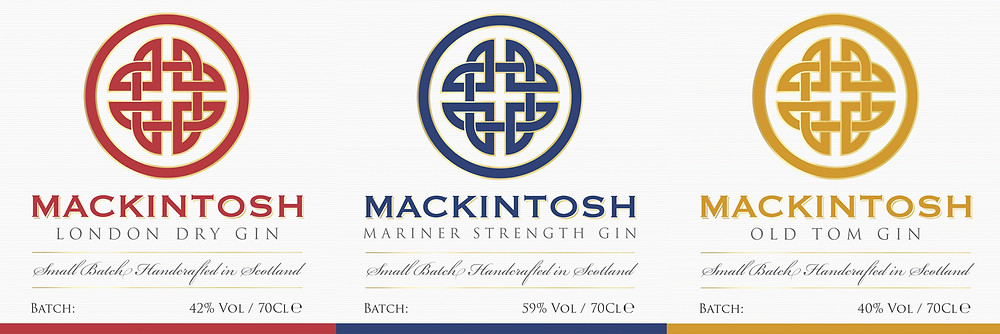 Mackintosh Gin bottle labels for London Dry Gin, Mackintosh Mariner Strength Gin and Mackintosh Pineapple and Grapefruit Old Tom Gin