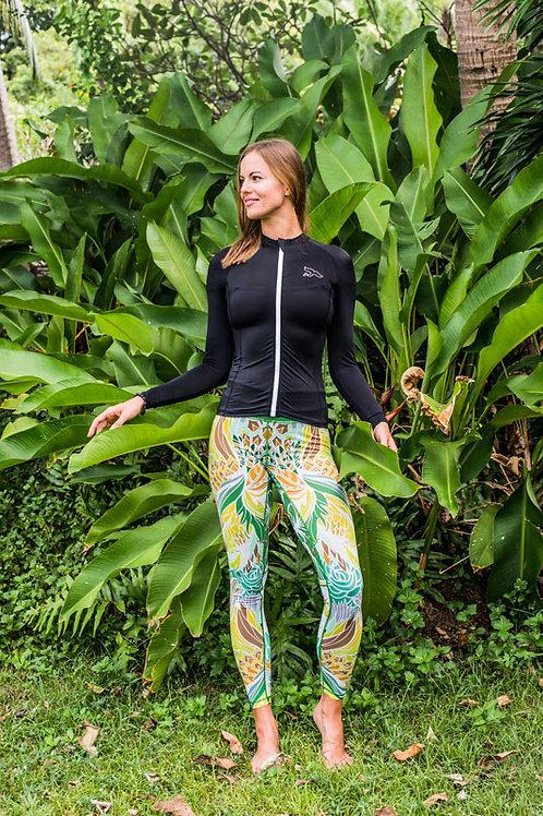 tropical green leggings for swimming rashguard jungle design