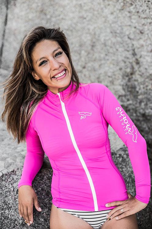pink_rashguard_diving_leggings_mermaid_design_colorful_scuba_gear_exposure_women_wetsuit_front_zip_female_dive_skin