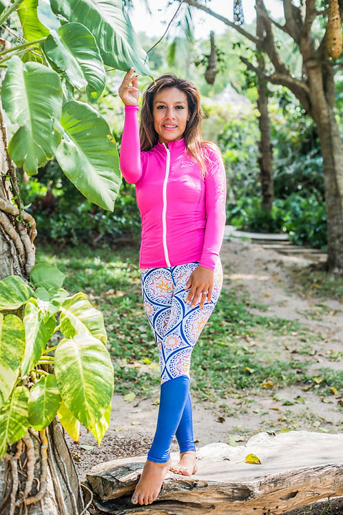 blue mandala leggings sunset design pink swimming clothes uv sun protection