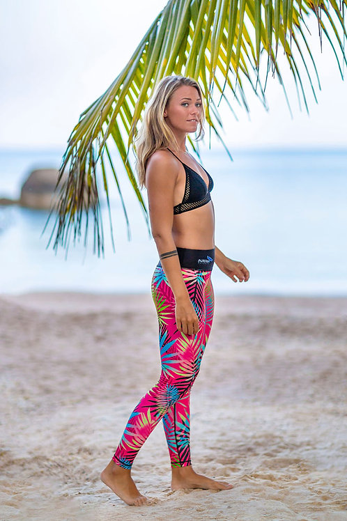 Divine women's diving leggings, female diver. Beautiful tropical print,UPF 50+ ,