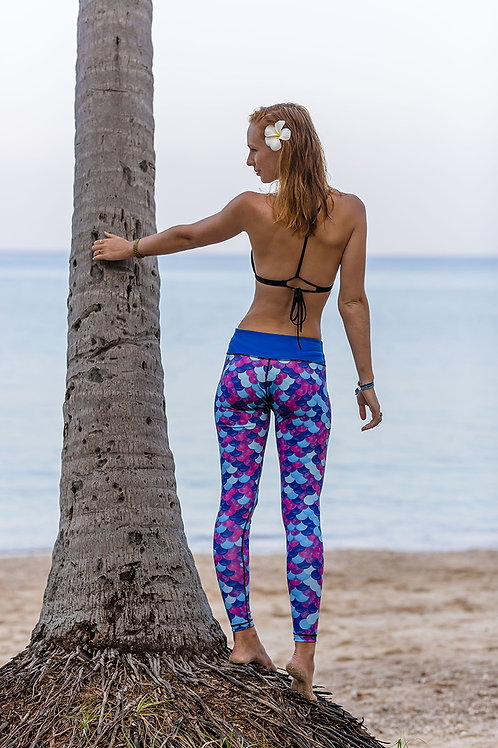 Multipurpose Leggings for Diving Swimming UV Sun Protection 50 Exposure Suit Mermaid Design
