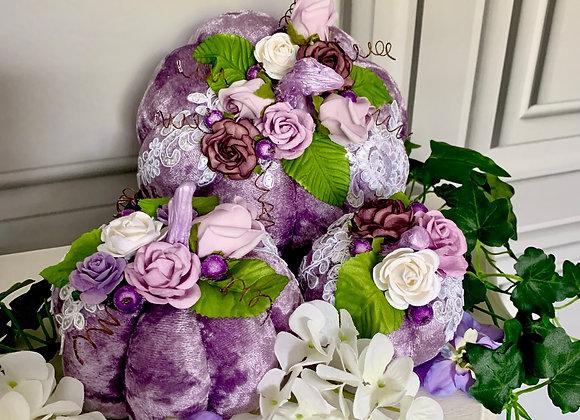 Purple Flowers Posh Pumpkins (Set of 3)