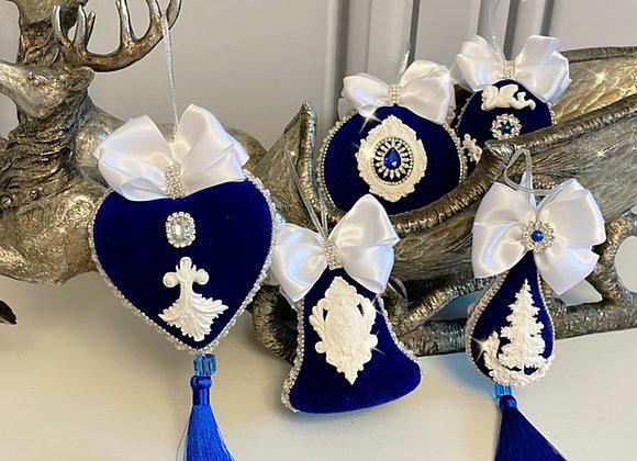 Navy Blue Christmas Heirloom Baubles