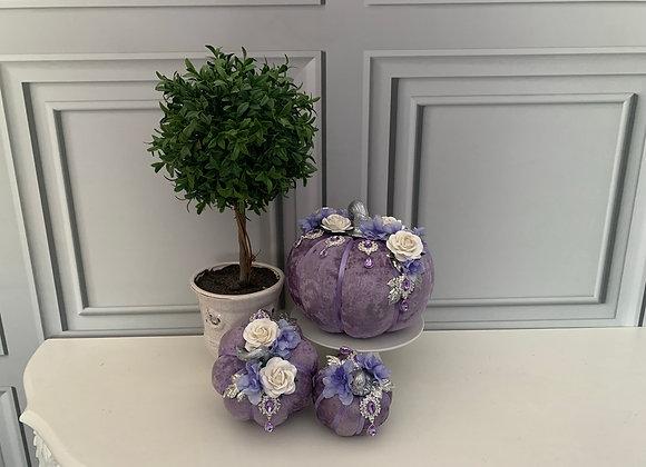 Purple Posh Pumpkins (Set of 3)
