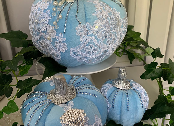 Pearl and Lace Blue Posh Pumpkins (Set of 3)