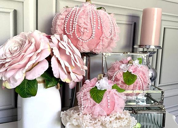 Fluffy Pink Posh Pumpkins (Set of 3)