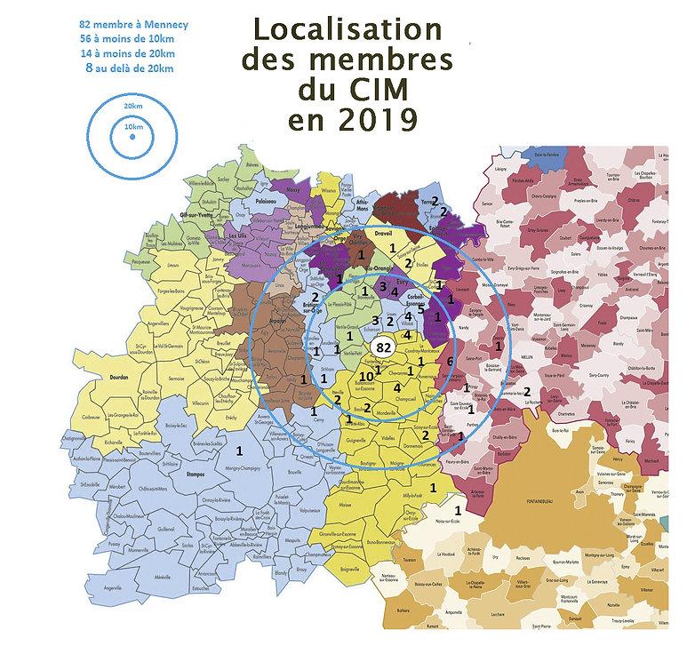 localisation des membres du CIM 2018-201