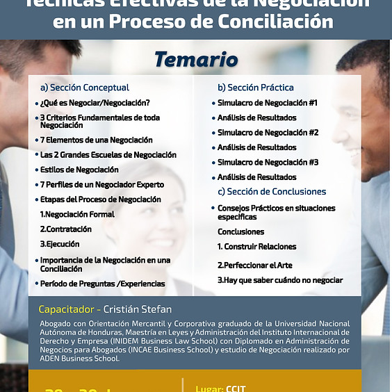 Capacitación Técnicas Efectivas de Negociación en un Proceso de Conciliación