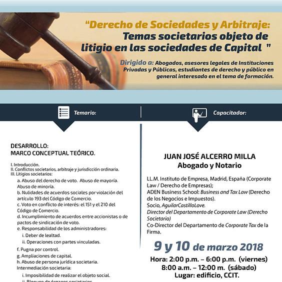 Derecho de Sociedades y Arbitraje: Temas societarios objeto de litigio en las sociedades de capital