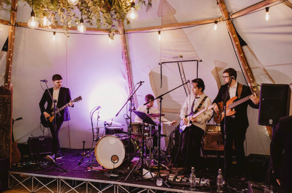 Whether your considering a DJ or a band, these tipis have great space and a stage available upon request! Rigging of power for music and other electrical requirements such as catering is carried out by a professional here at Wickerwood Farm.