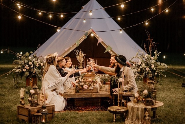 For those of you glamping why not go the extra mile and hire a low grazing table outside your bell tent?