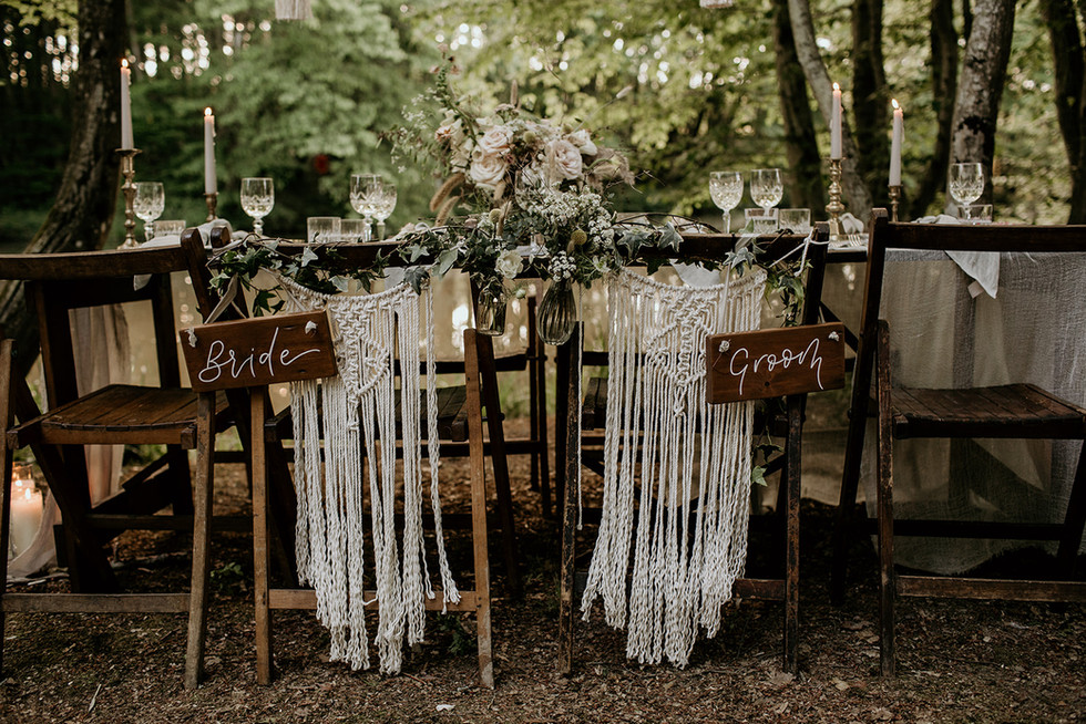 Hanging macrame chair backs and Bride and Groom signs are available for hire.