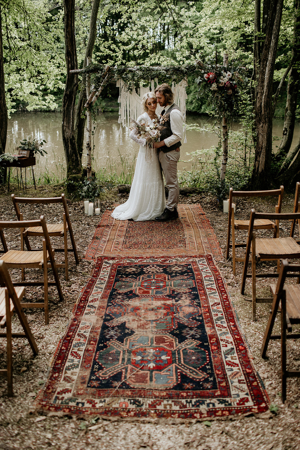 An 11 mtr authentic Persian rug aisle and rustic folding chairs for 60 guests are included within our packages.
