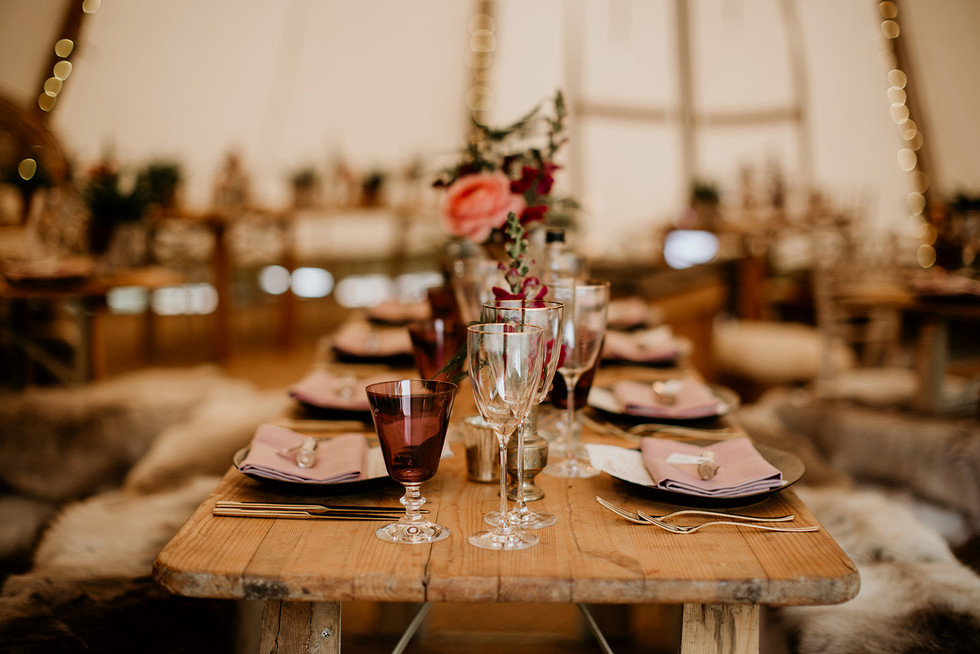 Here's an example of a table set up on these gorgeous upcycled trestle tables.  Round tables, rustic benches and chairs are also available.  These trestle tables are available for hire within our packages.