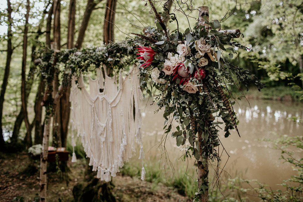 Our ceremony arch showing floral details as an optional extra.