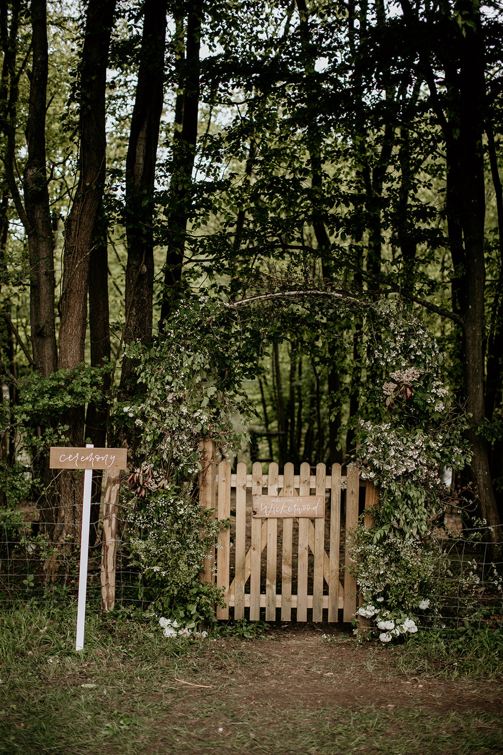 The entrance into the woodland.   Floral arch is an optional extra.  More details available upon request.