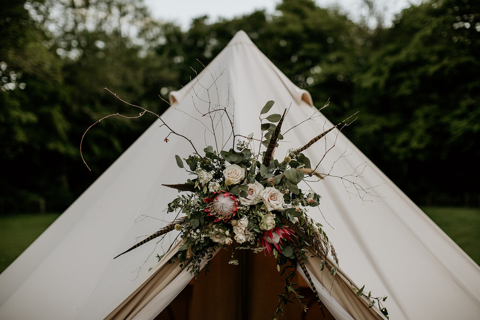 Planning on Glamping?  Lets help you add a personal touch to your bridal bell tent!