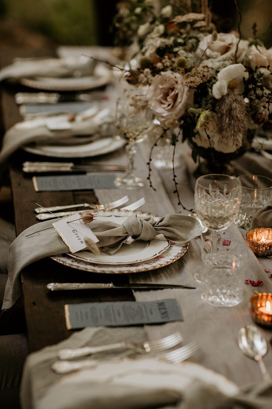 An example of a wedding table set up.