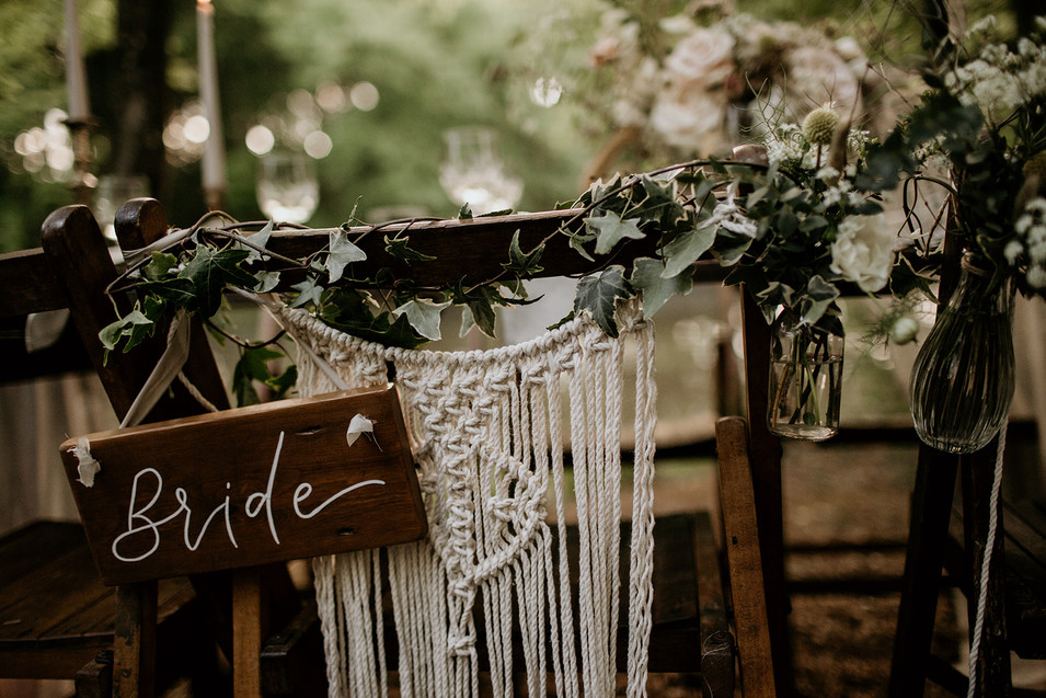 Adding details to the bride and grooms chairs.