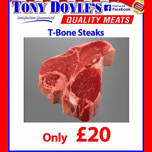 3 Large T Bone Steaks